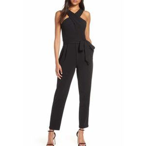 Eliza J Cross Neck Belted Crepe Jumpsuit